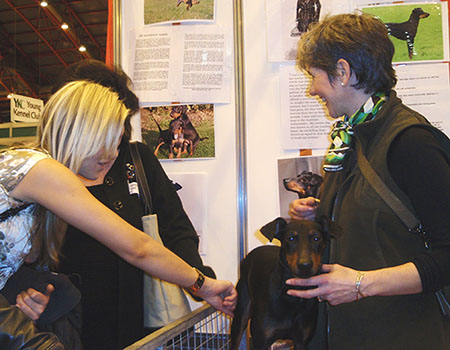 Leonie giving dog training advice at Discover Dogs